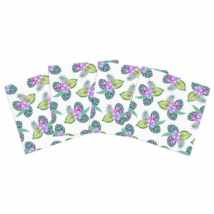 Take your art outdoors and eat in style with these luxurious Outdoor Placemats! These #placemats feature high quality art that will make any patio space pop!  #tropical #flowers #monstera #hawaii #colorful #leaves #nature #plumeria