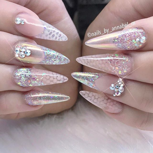 Crystal nail art design- crystal nails - stiletto clear nails