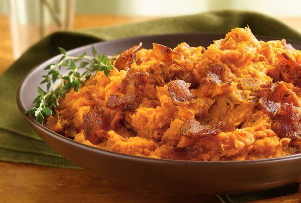 savory sweet potatoes with bacon & swiss