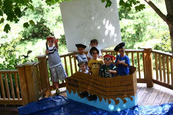 pirate ship made of a cardboard box for a pirate party