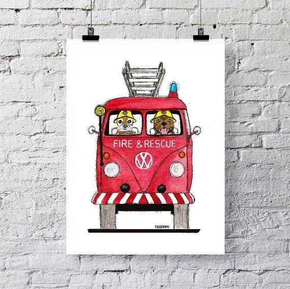 Fire & Rescue VW with Staffordshire Bull Terrier and Border