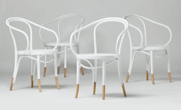 White Thonet chairs with natural timber socks.  SO nice. Don't even talk to me about replicas. Original is best! www.thonet.com.au