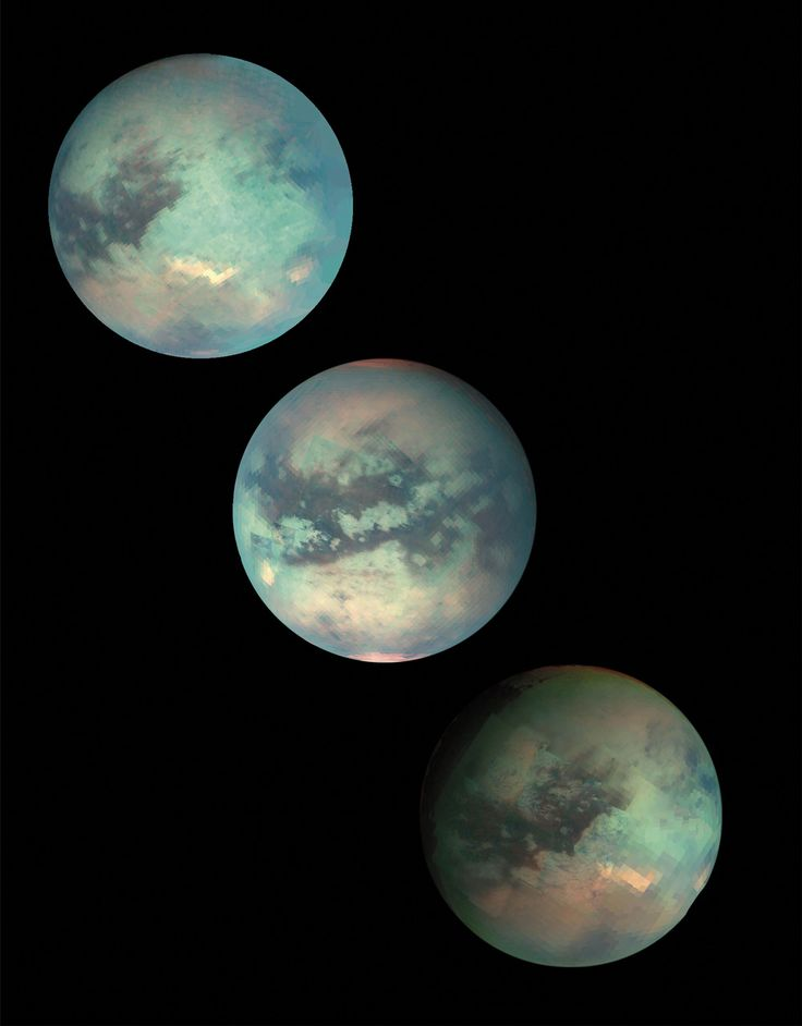 When the Voyager 1 and 2 spacecraft flew by Saturn in 1980 and 1981, they were able to pay only fleeting attention to Titan, the second largest moon in the solar system (larger even than the planet Mercury) and the only solar system moon with an appreciable atmosphere. These images are from subsequent Titan flybys in 2005 and 2006. - Image credit: NASA / JPL / University of Arizona
