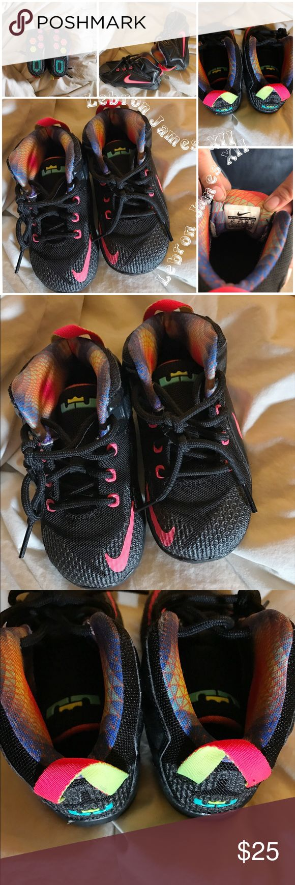 Lebron James XII Preowned shoes, good condition.  I seen them sell for preowned 29 on an outside vendor.  There is more Colors than black seen in the pictures.  Happy poshing. lebron james Shoes Sneakers