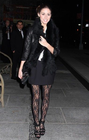 Olivia Palermo wearing Topshop Livid Stud Jewel Sandals, Wolford Souvenir Tights, Asos Ring and Susan Woo Top.