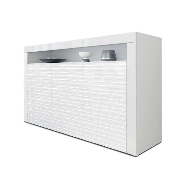 Sideboard Kommode Valencia, Korpus in Weiß matt   Fronten in Weiß - küche hochglanz oder matt