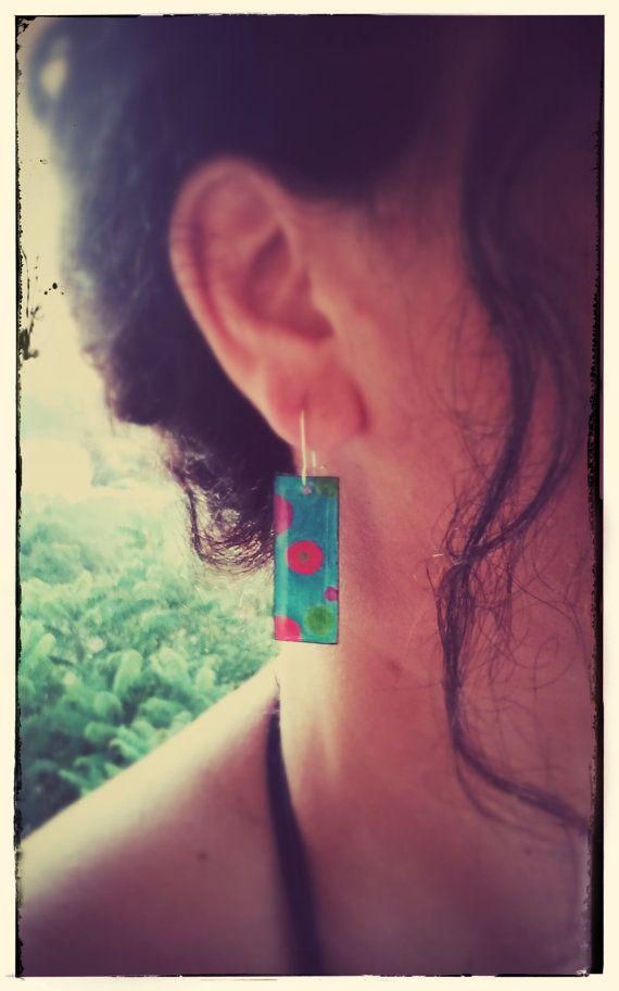 dangle earrings-shrink plastic earrings-ocean blue earrings with colourful circles