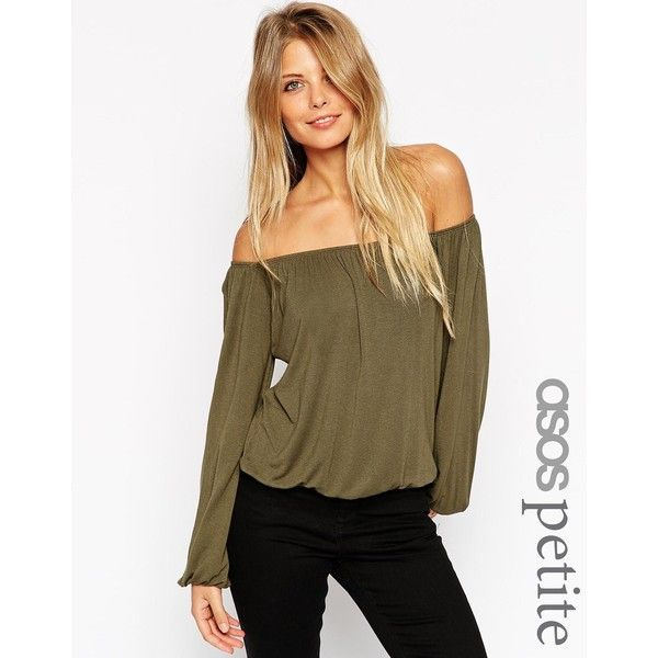 ASOS PETITE Off Shoulder Slouchy Top ($23) ❤ liked on Polyvore featuring tops, black, petite, black off the shoulder top, asos tops, black top, slouchy tops and asos