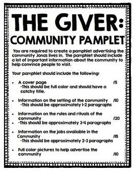 The Giver by Lois Lowry - Create your own community project.