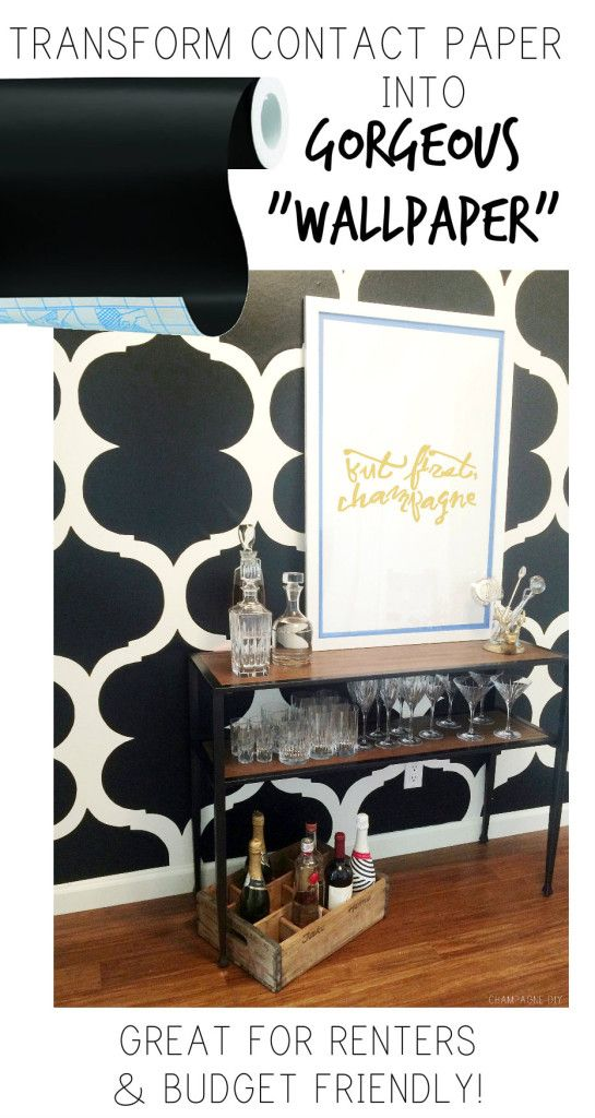 "Contact Paper Turned Renter's ""Wallpaper""! This wall's pattern was created with contact paper and scissors! Easily removable, budget friendly, and renter friendly!"