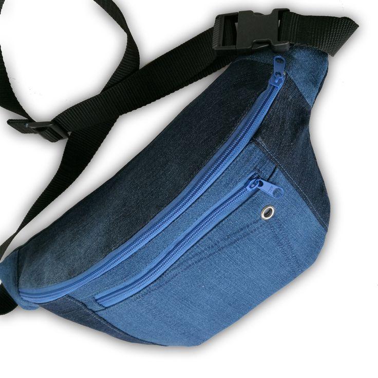 Bauchtasche groß aus waxed Jeans,Hüfttasche,Fannypack large,mit Extrafach für Telefon und Öse für Headset,beste handmade Verarbeitung