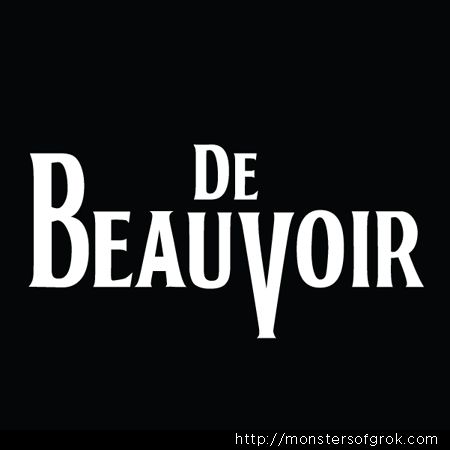 Simone De Beauvoir T-Shirt in the style of The Beatles.  Fake band t-shirts for history's greatest minds