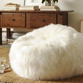 Shaggy Fur Bean Bag  Straight White, Bean Bag Chairs