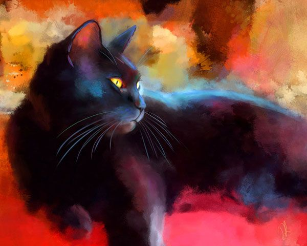 Black cat day dreamer painting, Denise Laurent