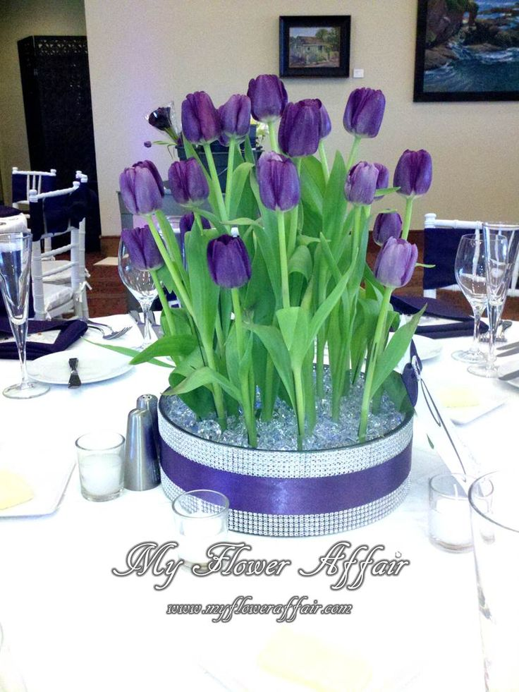 purple tulips crystals up lit bling Wedding flowers and custom linens by My Flower Affair.  www.myfloweraffair.com… wedding flowers,  wedding decor, wedding flower centerpiece, wedding flower arrangement.