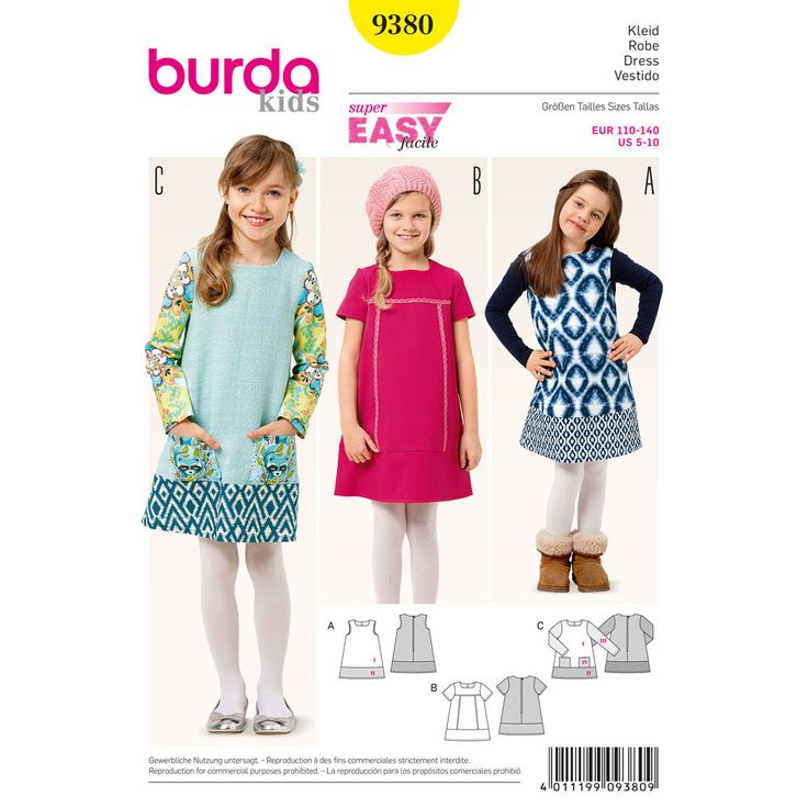 Transform a simple dress pattern into something spectacular by just adding a wide band at the hem. Use a stitch on the trim for a Chanel look! A Burda Style sewing pattern.