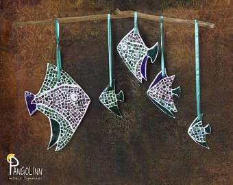 Set of five mosaic fishes - original home decor. Can be placed on the wall or chandelier, the wall of the cabinet. Either one piece used as a Christmas tree or for decorative bouquets of branches.  Size of the biggest fish: 7.48 inch Fishes wall decor, Mosaic wall decor, Pterophyllums, Angelfish, Fish Figurine, Fish Wall Hanging