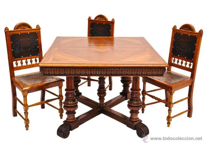 Conjunto comedor mesa 4 sillas de nogal coleccion - Muebles nogal yecla ...