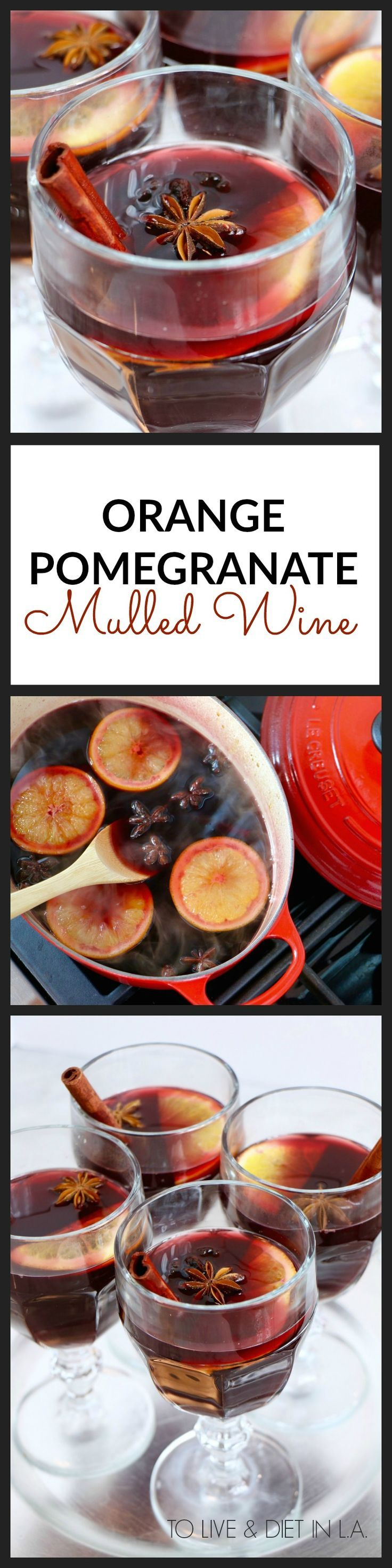 Orange Pomegranate Mulled Wine Recipe - the perfect healthy holiday cocktail.