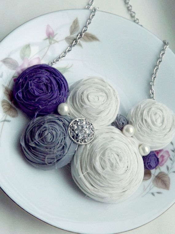 Rosette Necklace  PURPLE GRAY and WHITE by thetootsiewootsie, $32.99