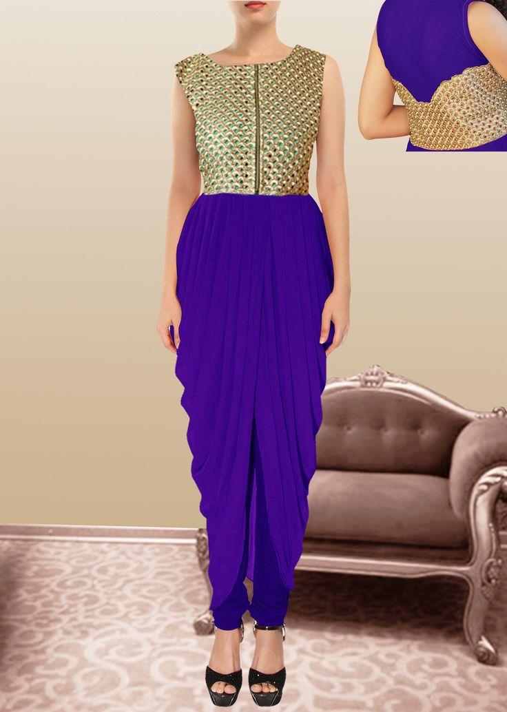Latest Blue Color Dhoti Style Georgette Anarkali Salwar Kammez.
