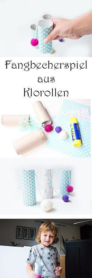 DIY Fangbecherspiel aus Klorollen selber machen - Upcycling Spielzeug basteln