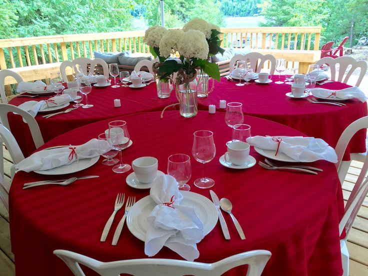 Table set up for destination wedding in Farr Island