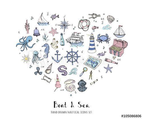 Mão, desenhado, doodle, bote, e, mar, jogo vetorial, Ilustração, bote, ícones, mar, vida, conceito, elementos navio, símbolos, coleção vida marinha, náutico, desenho submarinas, vida, mar, animais, mar, mapa, Spyglass, Magnifier