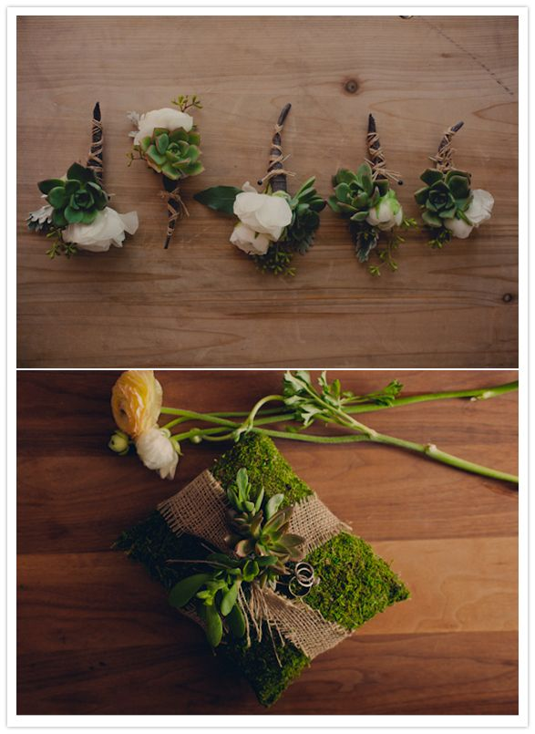 white floral and succulent boutonniere