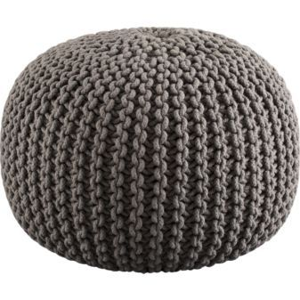 A chunky cable-knit pouf adds texture to the room, along with a comfy place to sit and read. Knitted grey pouf, $89.95 from CB2.