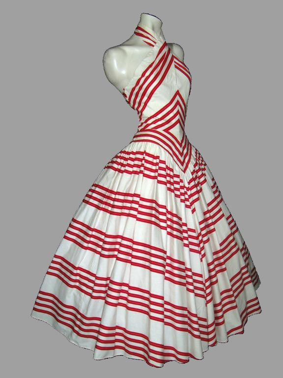 Lillie Rubin 1970s chevron halter dress (crinoline added, alt pics w/o it on source)