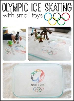 Olympic Ice Skating with small toys - this is such a cool idea and simple too!