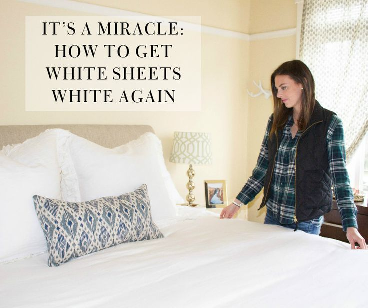 Put down the bleach, sister.    One of my biggest wedding registry regrets is (drum roll please!!) white  sheets. Our sheets have tuned a yellow hue from sweat, body oils, and skin  care products - so gross I know!  I have tried everything under the sun to get our white sheets white  again, everything from bleach, baking soda and vinegar, etc. Absolutely  nothing has worked, until I stumbled upon this Rit Powder White-Wash  Laundry Treatment at the grocery store. When I saw it I thought…
