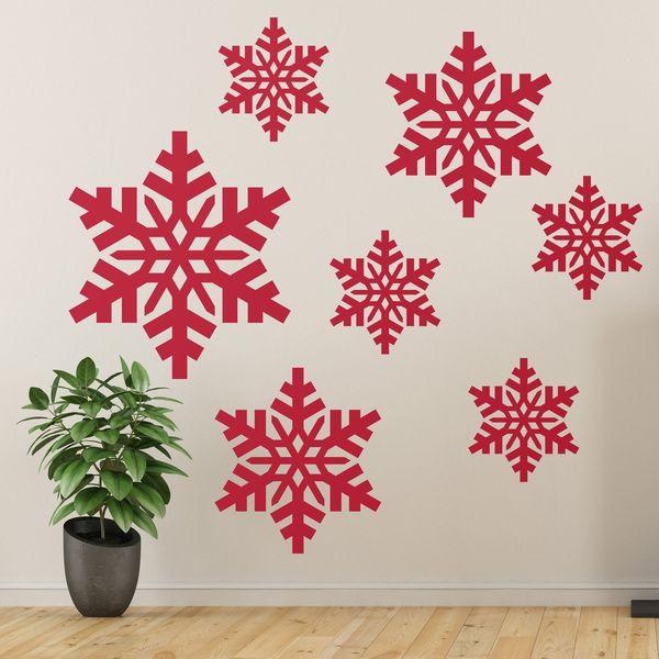 Adesivi murali: Kit 7 fiocchi di neve. Adesivi murali bambini a kit. #adesivimurali #decorazione #modelli #mosaico #neve #StickersMurali
