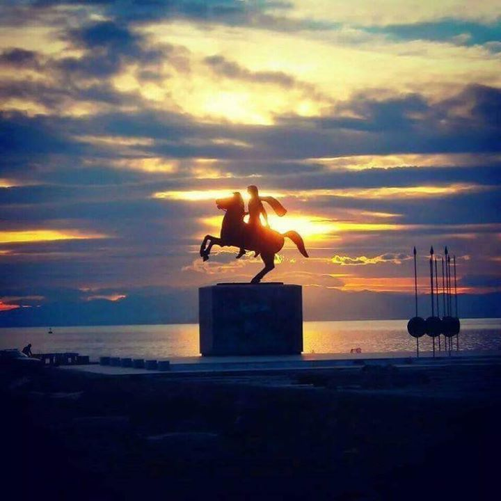 Beautiful sunset in Thessaloniki ~ The statue of Alexander the great