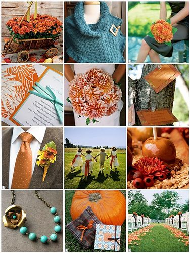 Some Orange And Teal Wedding Inspiration Found On Weddingbee Fo Mate For Life Pinterest Colors Fall