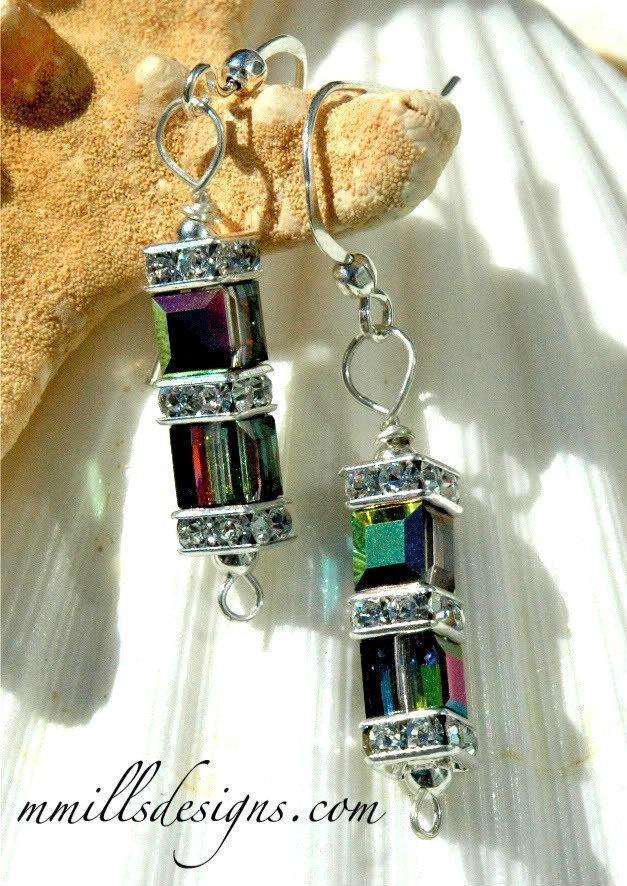 Swarovski Double Cube Earrings in Vitrail
