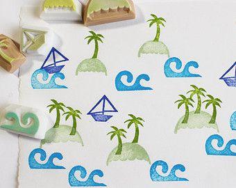 estate isola timbro impostato. Hawaii timbro di gomma. timbro intagliato a mano. timbro timbri/onda di palma albero/barca timbro/isola. set di 5.
