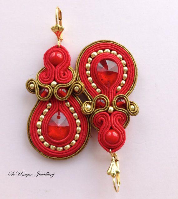 Red Swarovski crystal earrings in soutache by SouniqueJewellery