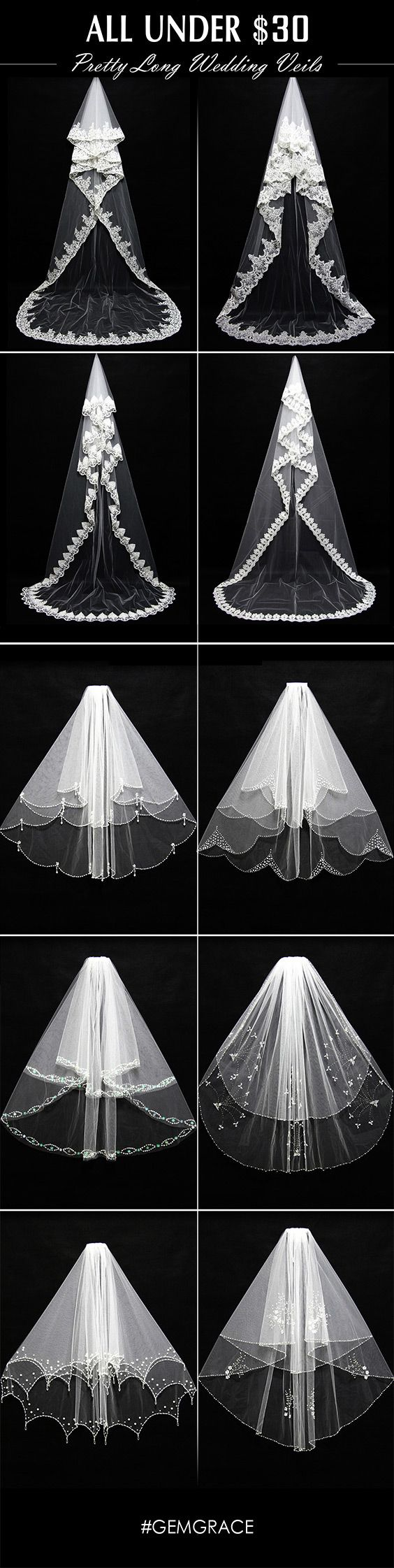 Ideas for wedding veil long lace styles | Getting your wedding outfit perfect with a right wedding veil. The only thing that could make a wedding dress better is finding the perfect bridal veils to match with it. #GemGrace Shop New Arrivals, All Free Shipping!