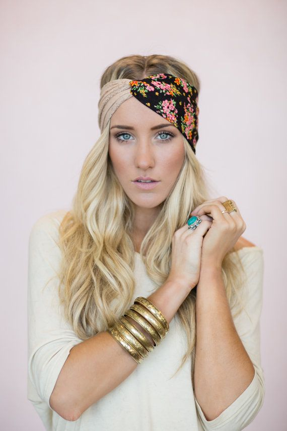 Turban Headband, Lace, Cute Hair Bands, Twist Headbands, Taupe Lace, Deep Brown & Coral Pink Floral Fabric (HB-25)