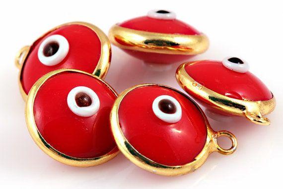 Glass Evil Eye Bead Charms, Red, 10mm, 5 pcs // GPCh-063