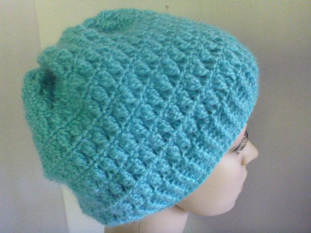 crochet slouchy beanie hat, crochet beanie, turquoise by CarolsCreations77 on Etsy