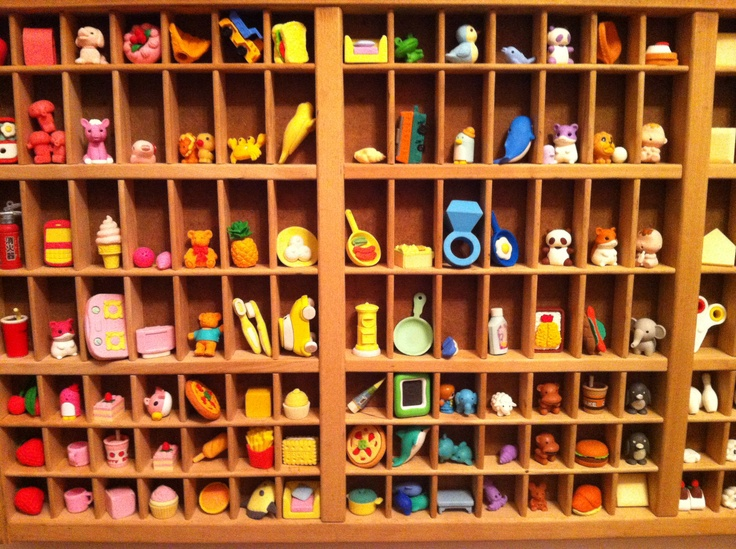 eraser collection in a sweet case - maybe it's for thimbles