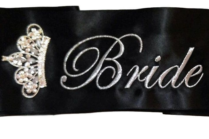 22.95$  Buy now - http://virgh.justgood.pw/vig/item.php?t=o9knfs41740 - Black Bridal Party Sash 22.95$