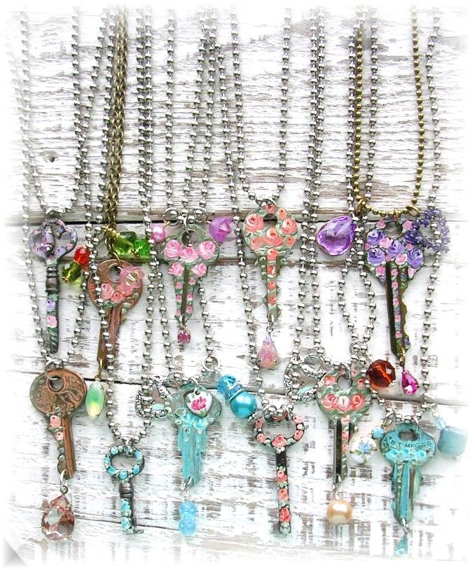 Old vintage & antique shabby chic hand painted key jewelry~Roses~Flowers <3