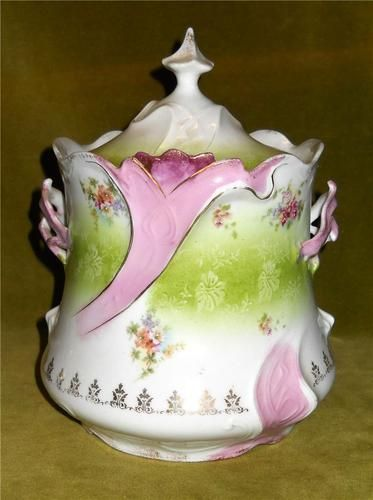 Antique Porcelain Cracker Jar Biscuit Jar Florals Gilt R S Prussia | eBay