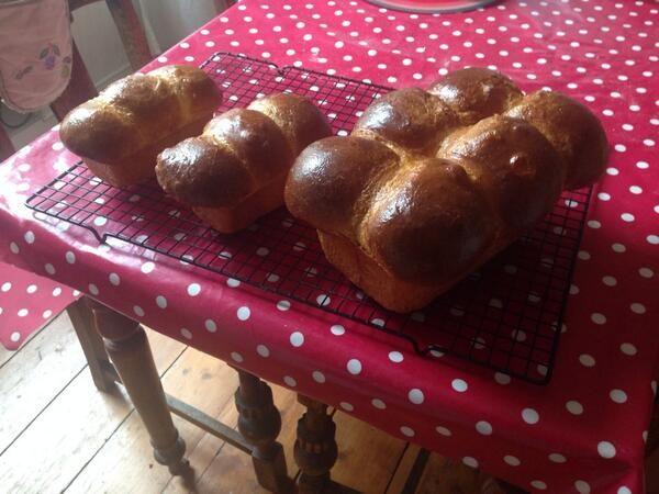 Pretty pan loaves of brioche, made by Andrew ([@]drewfromthefrew). Photo pinned with his permission.
