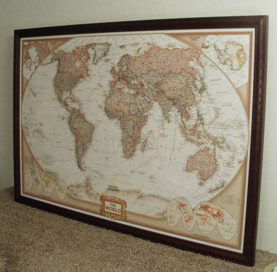 world mapframed world mappush pin mapframed push pin world mapearth tones 24x36 126 cherry red ash solid wood frame ready to ship