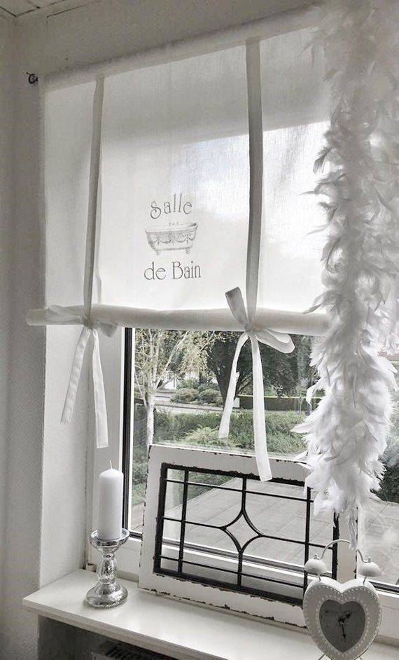 Shabby Raffrollo Salle De Bain French Gardine Bathroom Etsy Bathroom Curtains Shabby Chic Curtains Curtains Living Room